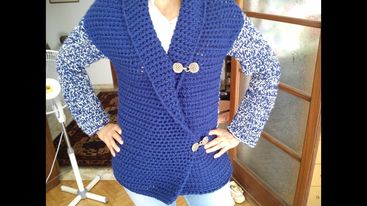 Knitting Pattern Circle Jacket : Loom Knit Mock Crochet Jacket - YouTube