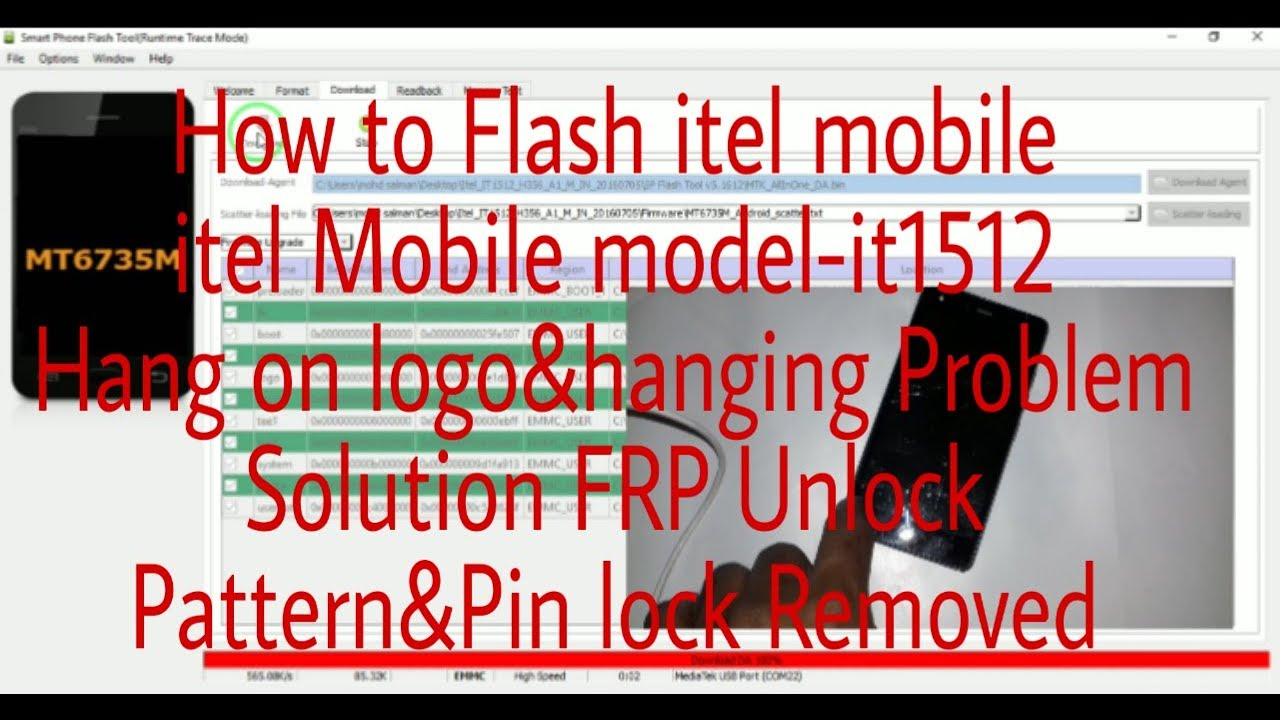 itel Mobile Flashing Model-it1512 hanging Problem solution hang on logo fix  Pattern&Pin lock Removed