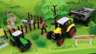 Kids Toys, unboxing farmer tractors, trains, fireman in action.