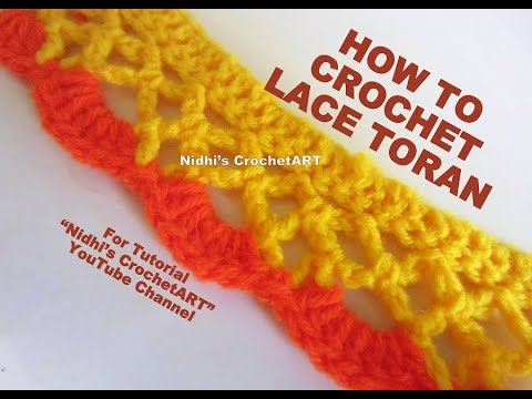 How to Crochet- Easy Embroidery Lace Border Stitch Tutorial for Saree Dupatta Toran