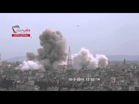 هااام حلب نيوز لحظة سقوط برميل متفجر على حي مساكن هنانو 2015/02/10