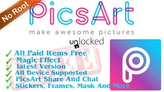 Gambar cover PicsArt Hack 100% Full Unlocked Apk | Without Root | All Premium Stickers & Fonts For Free | Hindi