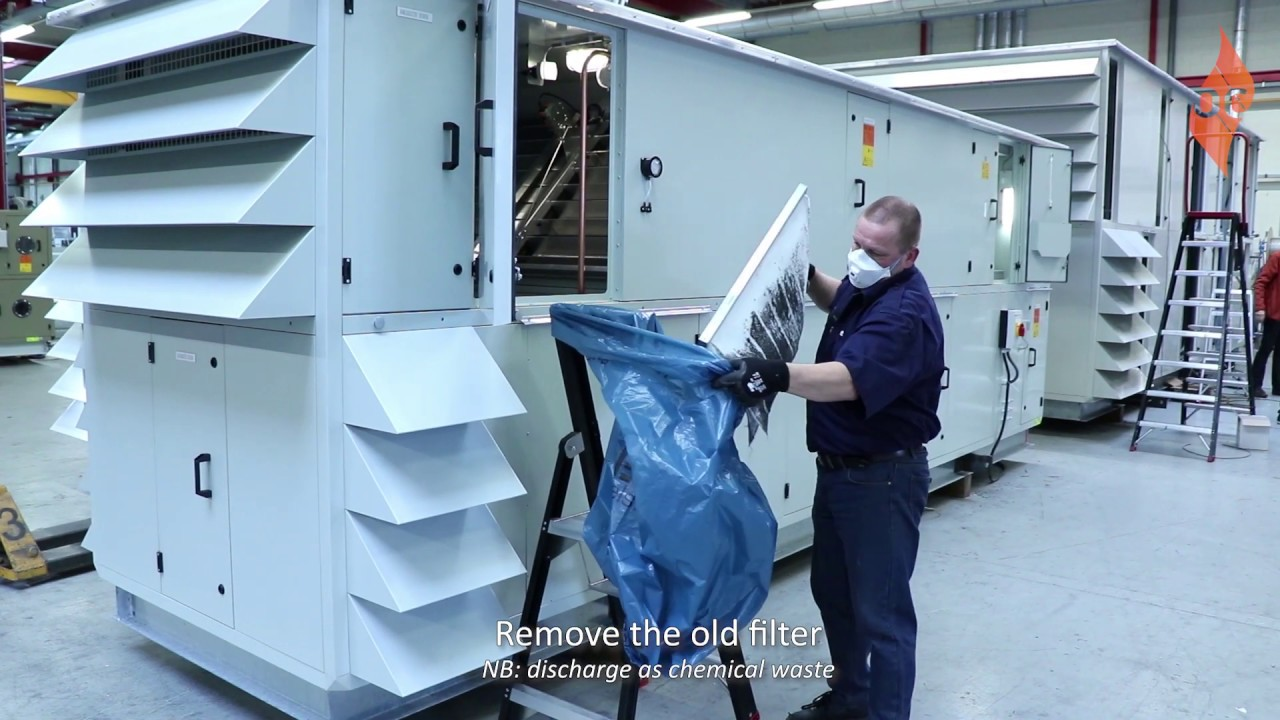 Replacing dirty slide filters in the AHU - Orange Climate