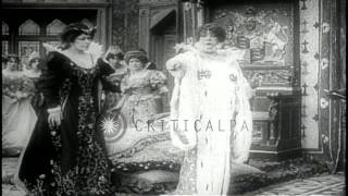French Actress Sarah Bernhardt As Queen Elizabeth In Motion Picture. Hd Stock Footage