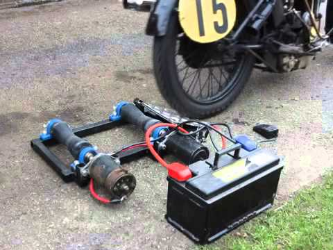 Motorcycle paddock starter roller youtube for How to make an electric bike with a starter motor