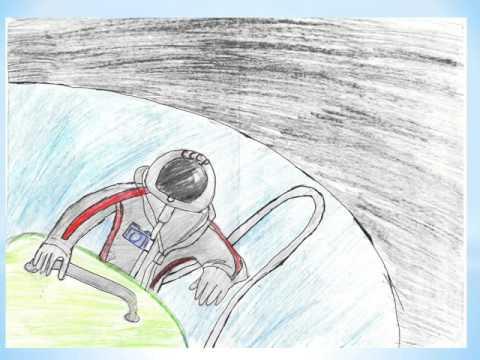 12 апреля День космонавтики, рисунки детей.