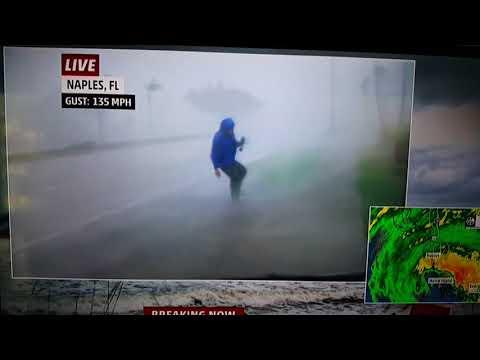 Hurricane Irma reporter hit by debris at 100 mph!