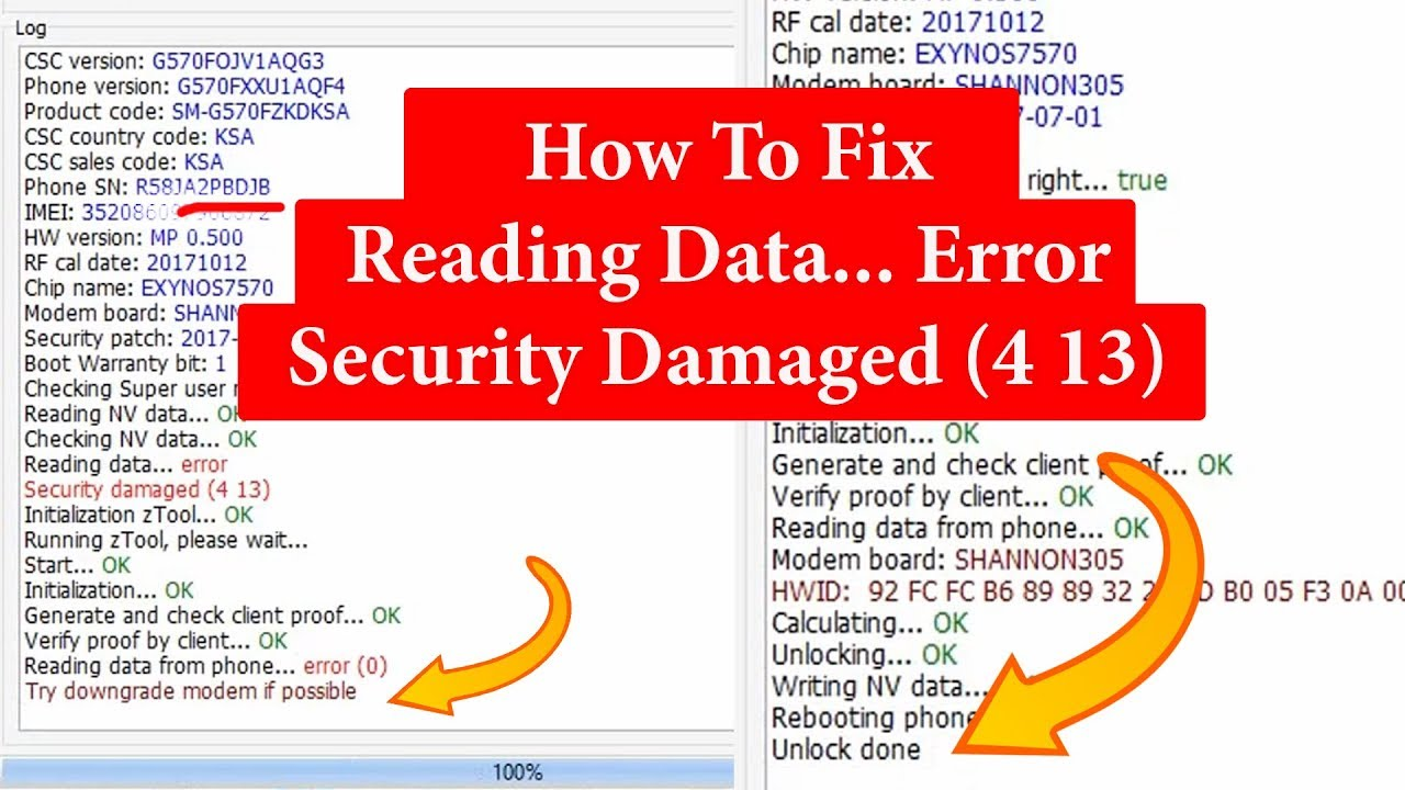 How To Fix | Reading Data    Error Security Damaged (4 13) Try downgrade  modem if possible