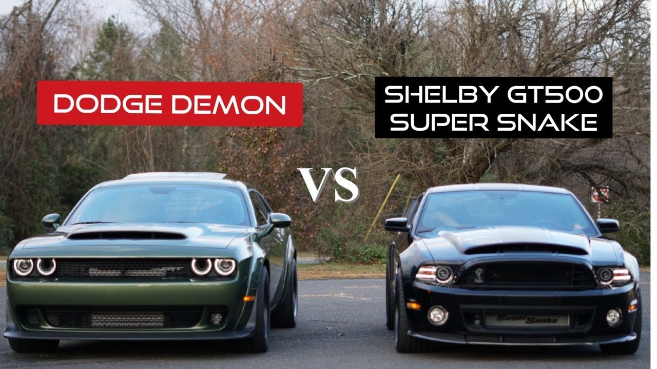 shelby gt500 super snake vs dodge demon rev battle  youtube