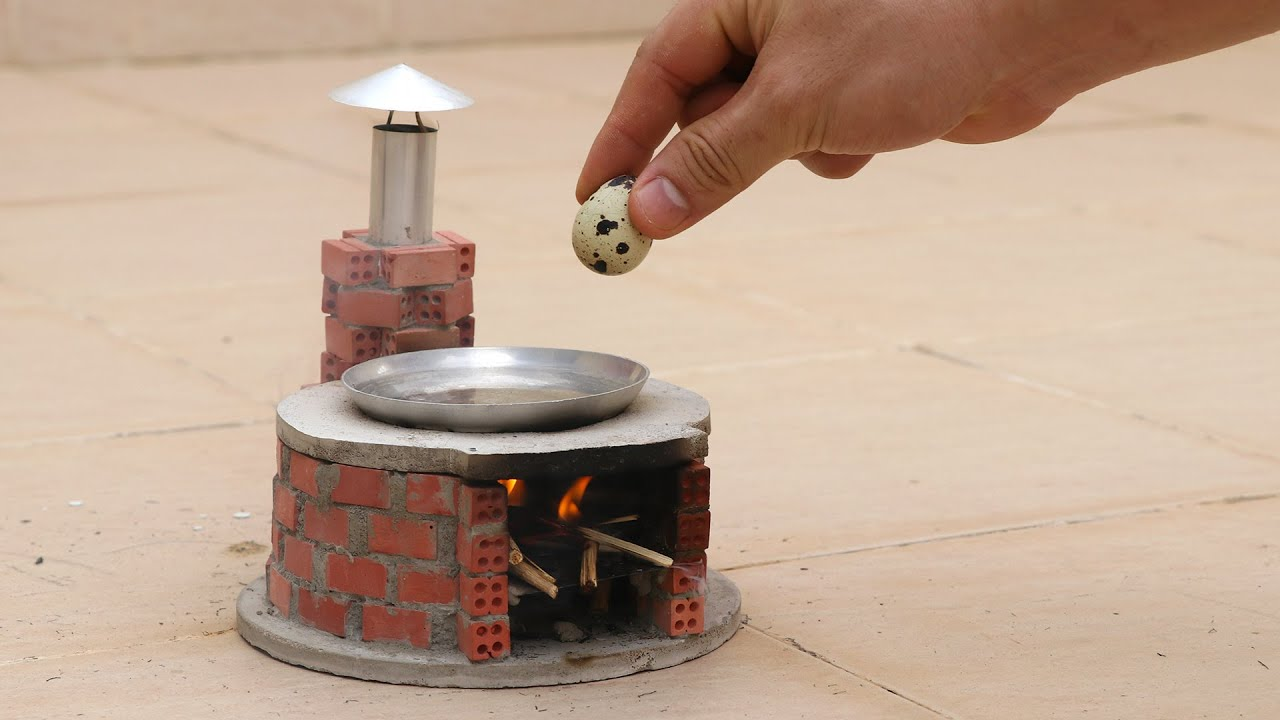 How to make a MINI STOVE with MINIATURE BRICKS and cooking Small EGG