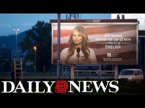 Melania Trump threatens lawsuit over school's billboard mocking her English