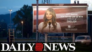 Melania Trump threatens lawsuit over school's billboard mocking her English