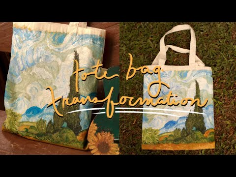 painting a tote bag (recreating van gogh)