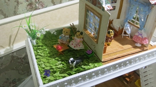 делаем  зеленую лужайку для кукол своими руками      green lawn with his own hands for dolls
