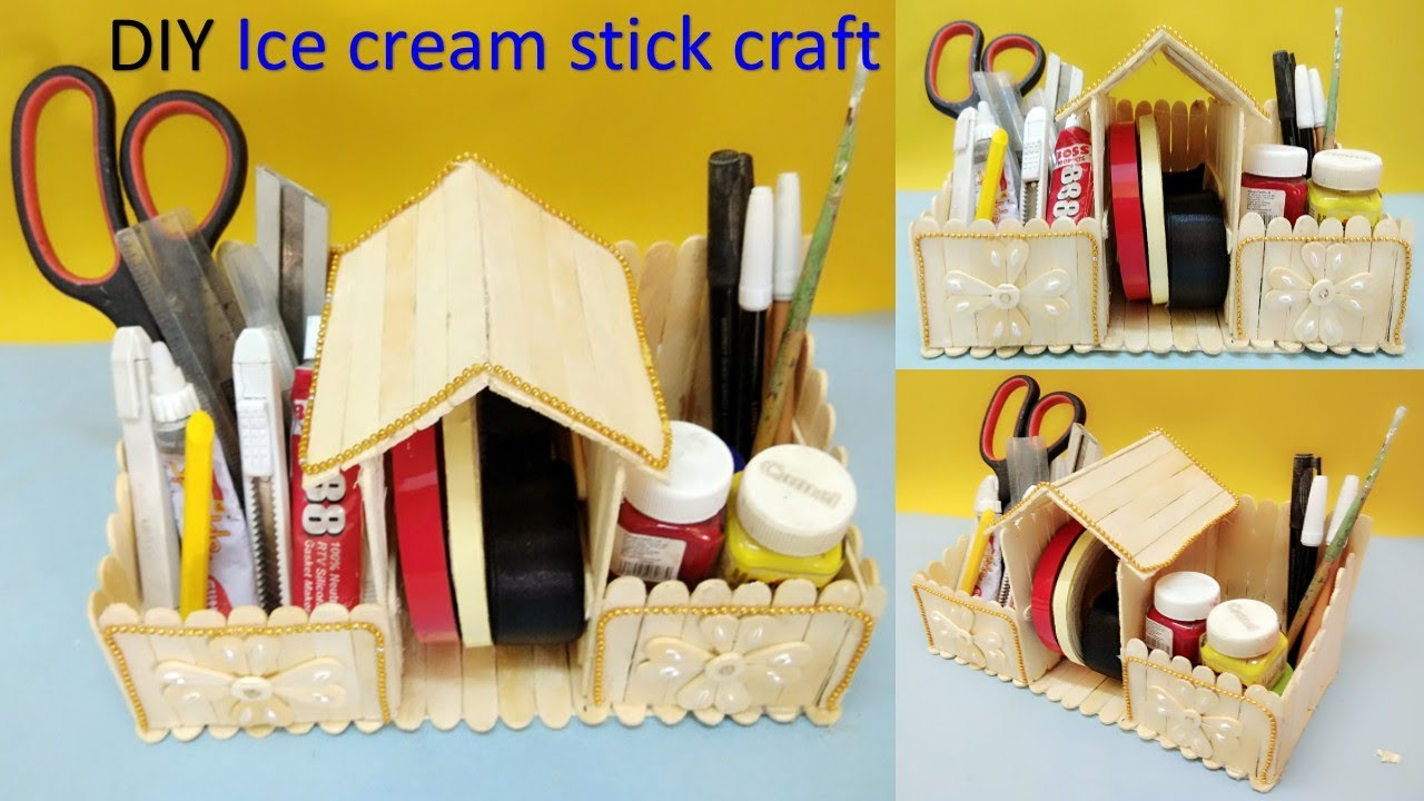 How to make desk organizer with ice cream stick diy for Best out of waste ideas from ice cream stick