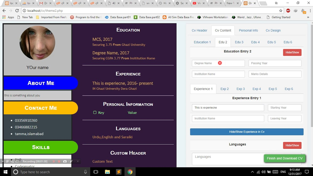 Free Cv Resume Maker Php Jquery Mysql Project Youtube