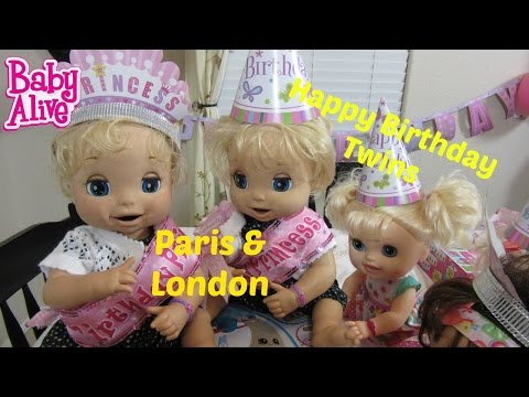 BABY ALIVE 2006 Soft Face Twins, London and Paris's Birthday Party! By Baby Alive Channel