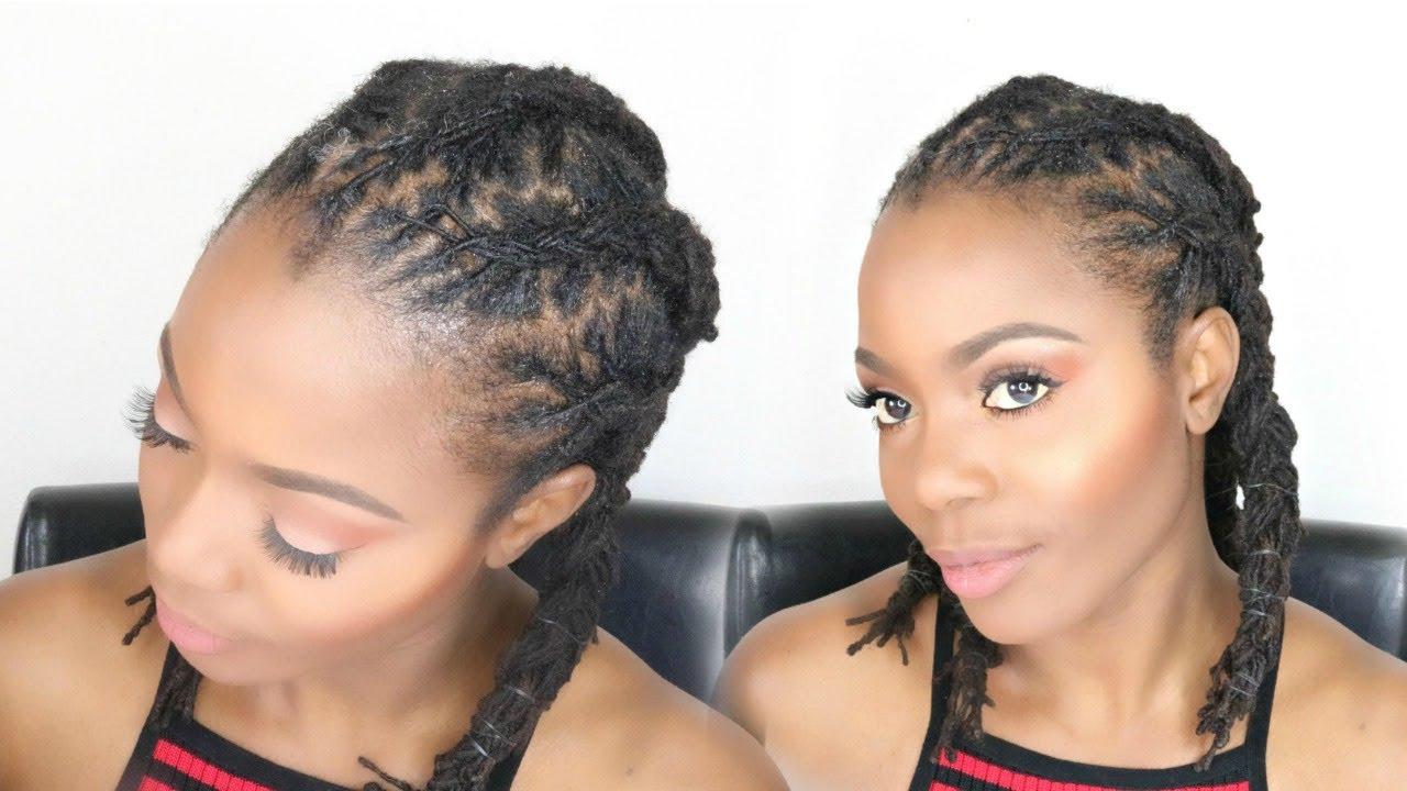 corn row braids for medium length locs: loc tutorial/jungle barbie