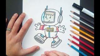 Como dibujar un astronauta paso a paso | How to draw an astronaut