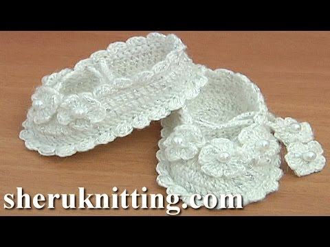 Crochet Shoes for Baptizing Tutorial 36 Part 2 of 2 Zapatitos para ...