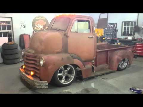Bagged ratrod coe cab over pickup truck patina barn find 1952 chevy prank how to Original air ride