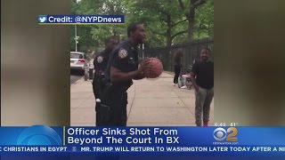 NYPD Officer Sinks Long-Range Basket From Beyond The Court