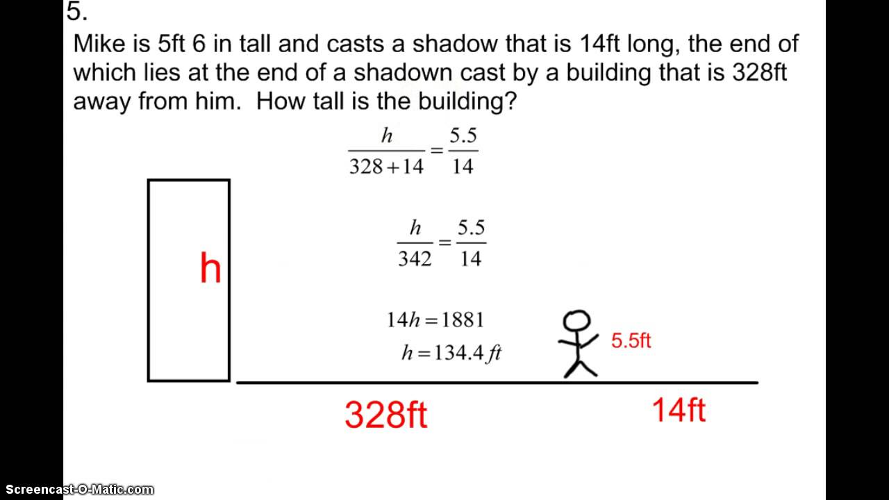 5-7 Word Problems Ratios and Indirect Measure - YouTube