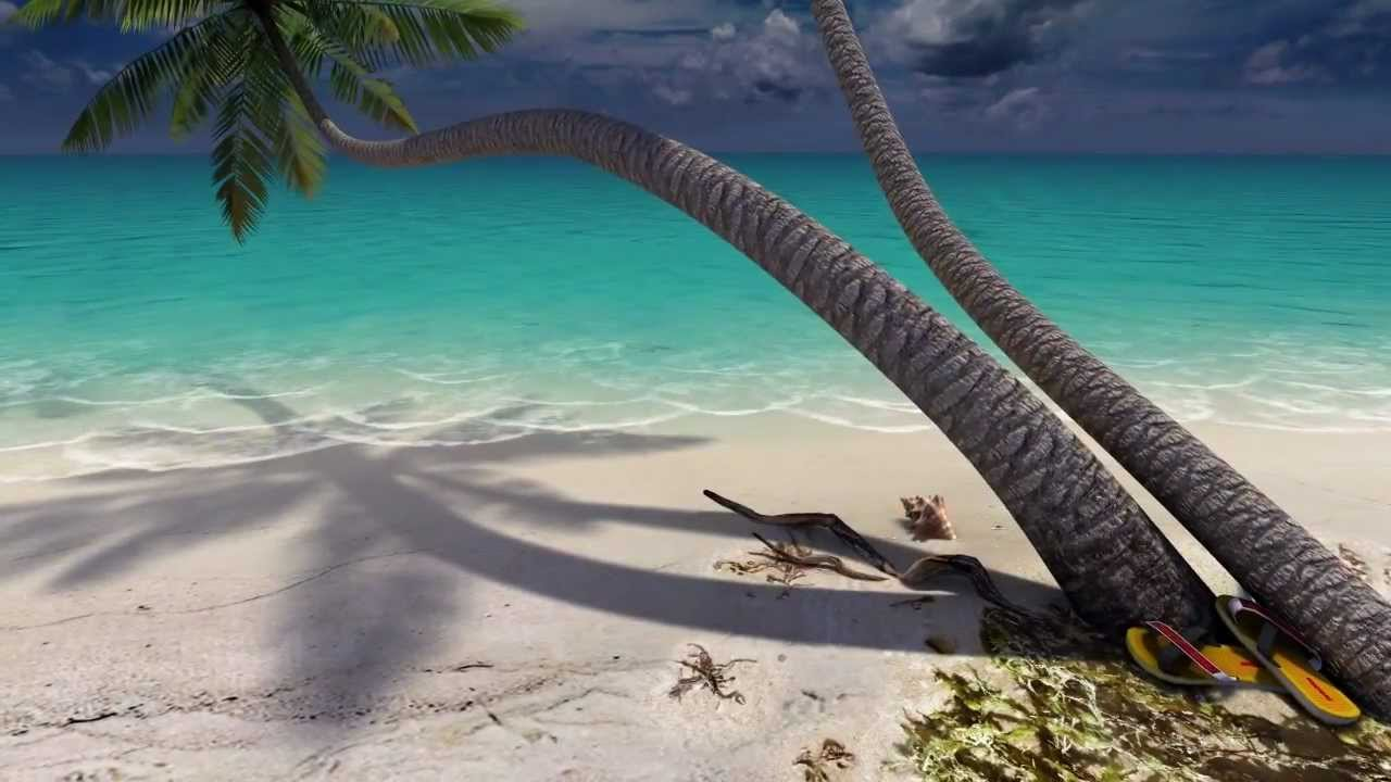 sandy beach 3d screensaver - youtube