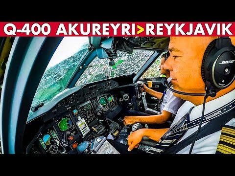 COCKPIT Q-400 Akureyri to Reykjavik ICELAND
