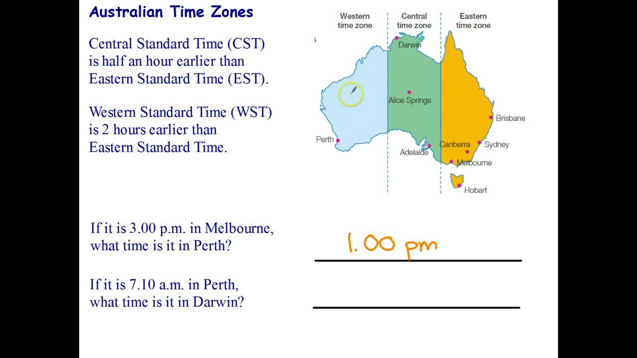 Australia Map Time Zones.Time Zones In Australia