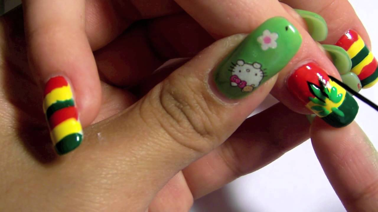Kimmie\'s Nail Art - Jamaica inspired - YouTube