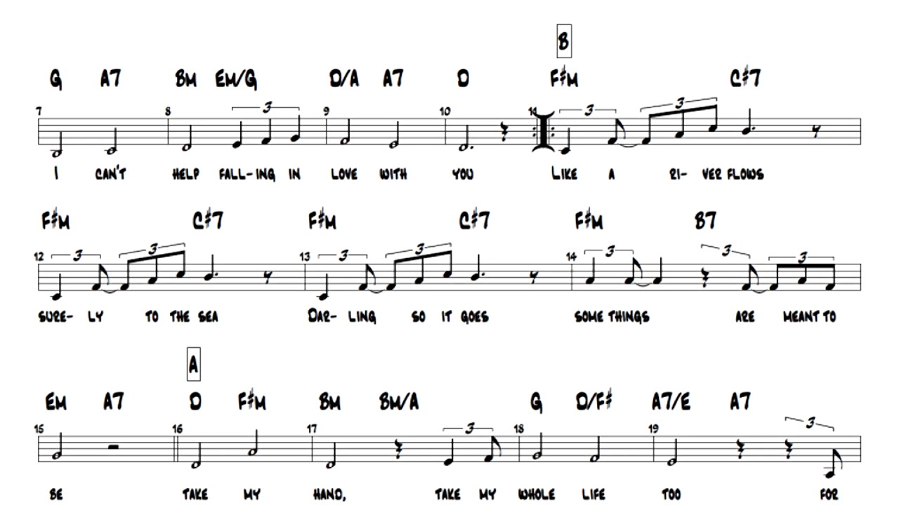 Elvis Presley Can T Help Falling In Love Lead Sheet Play Along Chords Youtube