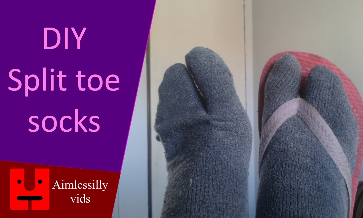 c72806a6e7123e DIY split toe socks out of old ugly socks - YouTube