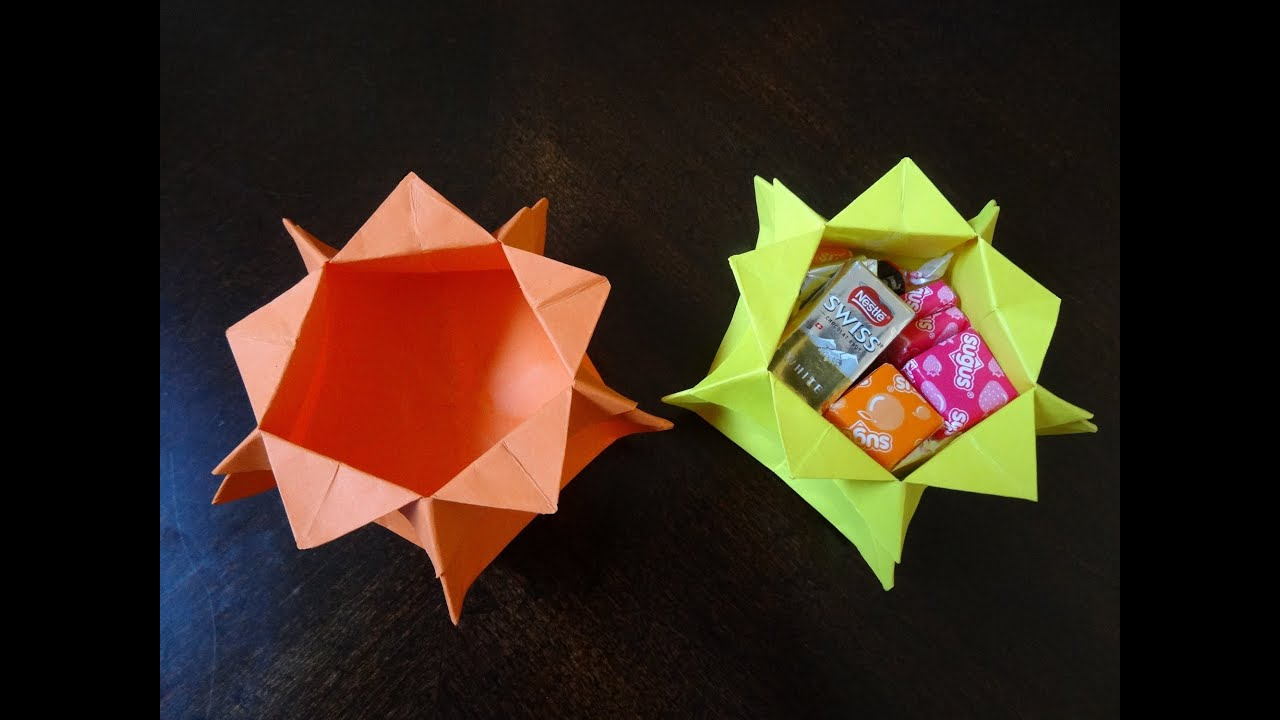 How to make star candy box with just a square paper no for What can i make with boxes
