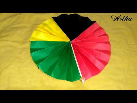 DIY Life Hacks with Paper: How to make a cute Colour Paper Fan - Hand fan