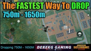 The FASTEST Way To Drop 750m to 1650m in PUBG Mobile - Tutorial with DerekG