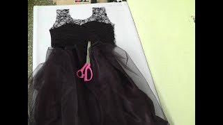 KIDS BLACK COLOR NET PRINCESS CUT DESIGNER PARTY WEAR FROCK DRAFTING/CUTTING/STITCHING PART-1