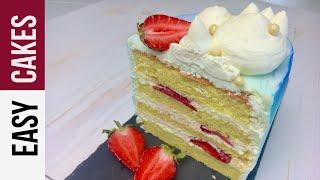 ТОРТ КЛУБНИКА - ПЛОМБИР: Рецепт крема Пломбир, как собрать торт с клубникой