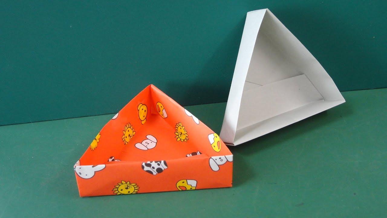 すべての折り紙 折り紙お年玉袋折り方 : 折り紙「三角形の箱」折り方 ...