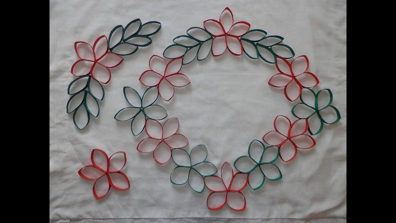 Artesanato Kaminski Telefone ~ Flor Enfeite Guirlanda feitos com rolo de papel higi u00eanico Artesanato Reciclagem YouTube