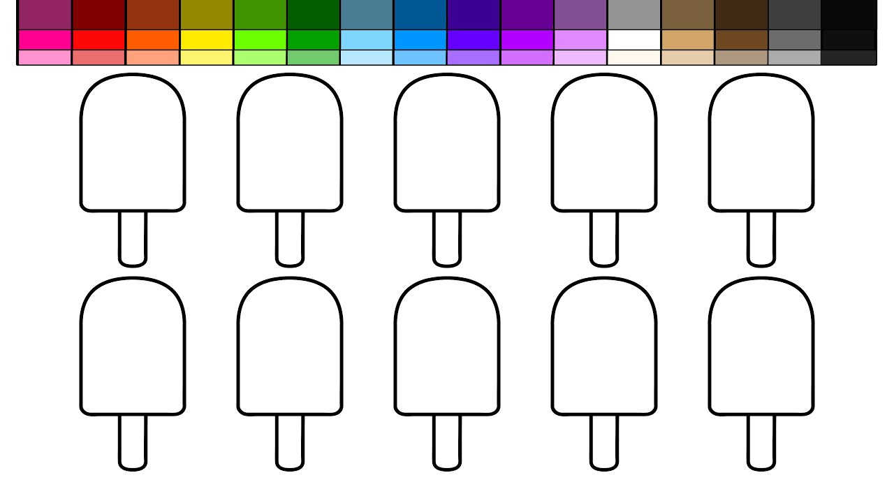learn colors for kids and color lots of ice cream popsicles coloring pages with popsicle