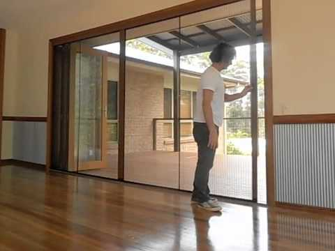 Retractable fly screen for bifold door youtube for Flyscreens for french doors