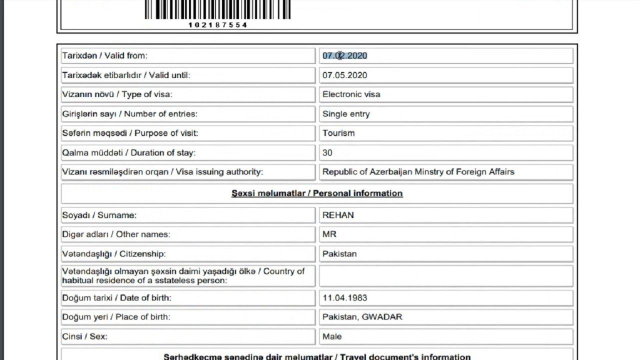 Azerbaijan Visa Apply Online Live 2020 Youtube