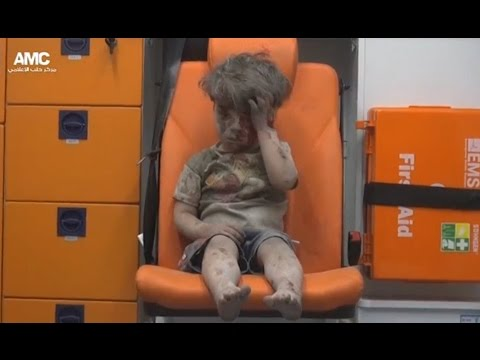 SENSITIVE: Shocking scenes of child injured in Aleppo airstrike