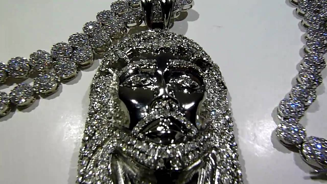 Sold 195 Lab Made Jesus Pendant Cluster Chain Necklace