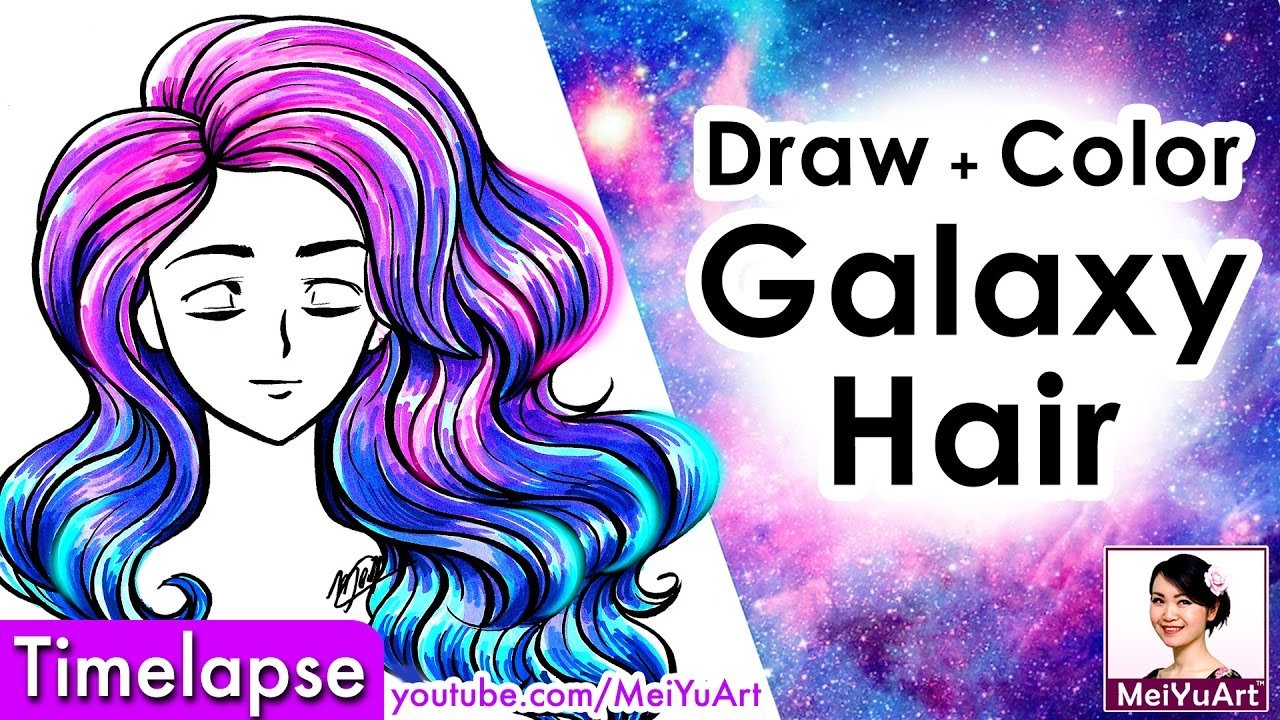 draw and color galaxy hair - speed