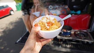 Cooking Lobster Mac and Cheese Out of my Truck (Camping Meal)