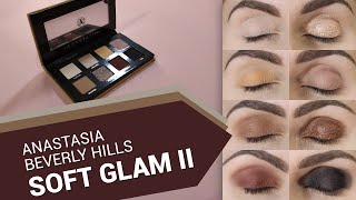 ANASTASIA BEVERLY HILLS - Soft Glam II Eyeshadows Palette - all shades on eyelids!