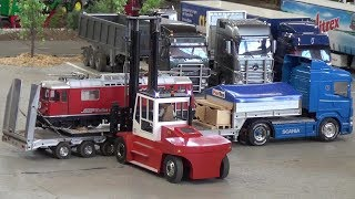 RC Truck loading Station Woodstack and a Locomotive Fascination RC Model 2018 Friedrichshafen