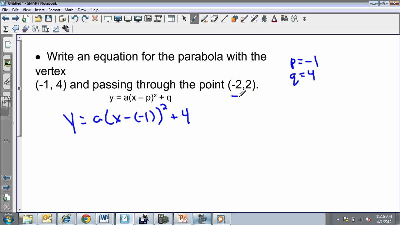 Writing an equation in vertex form given vertex and point youtube writing an equation in vertex form given vertex and point falaconquin